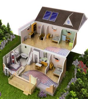 Imagen de casa con aerotermia